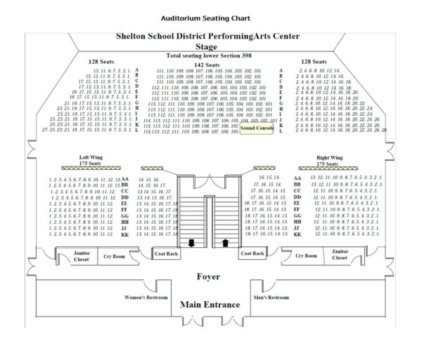 Shelton High School Auditorium Seating Chart
