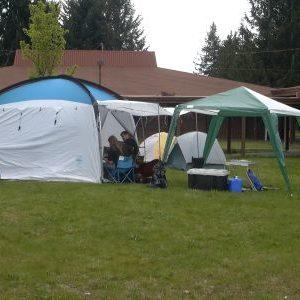 Tents between buildings